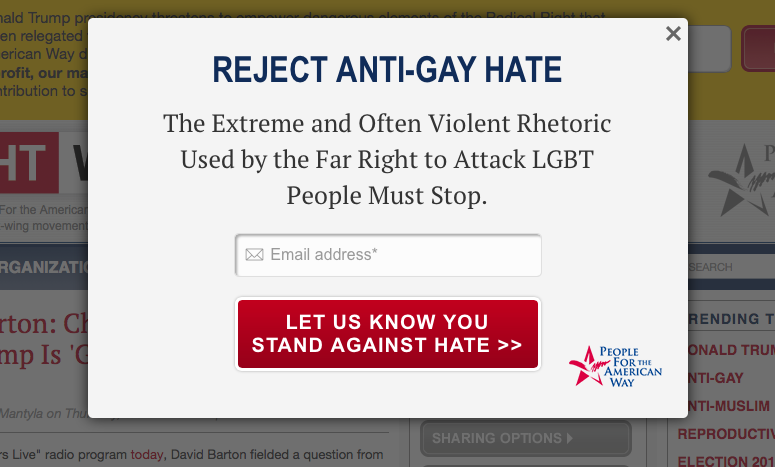 Ironically, this was the banner that greeted me when I went to read about David Barton's recommendation for Christians to vote for Donald Trump as president.